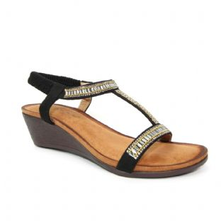 Lunar Womens Tabitha Wedged 'T' Bar Black Sandal